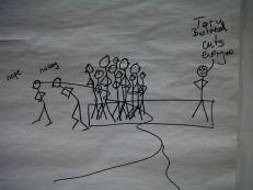 "A stick-man doodle by Jules showing crowds of people saying ""nope"" and ""no way"" walking away from a lone person saying ""Tory bastard cuts everyone"""